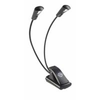 König & Meyer kottalámpa - Double LED Flex Light – 2x1 LED-es, csíptethető, 3 db AAA elemmel működik, flexibilis nyakkal, fekete