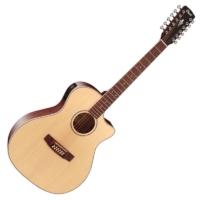 Cort - GA-MEDX-12-OP 12-húros akusztikus gitár elektronikával natúr ajándék húrtisztító