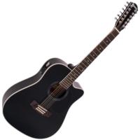 Dimavery - DR-612 Western gitár elektronikával 12 húros fekete ajándék húrtisztító