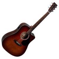 Sigma - DMC-1STE-BR akusztikus gitár elektronikával barna burst ajándék félkemény tok