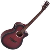 Dimavery - AW-400 Western gitár elektronikával piros burst ajándék puhatok