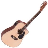Dimavery - DR-612 Western gitár elektronikával 12 húros natúr ajándék húrtisztító