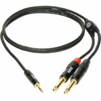 Klotz -  JACK-JACK 1,5 m  Klotz fémházas aranyozott 3,5/JACK3 - 2x6,36/JACK2 csatlakozók + PCD202-Z fekete kábel