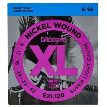 D'Addario - EXL120 Nickel Wound Super Light 9-42 elektromos gitárhúr