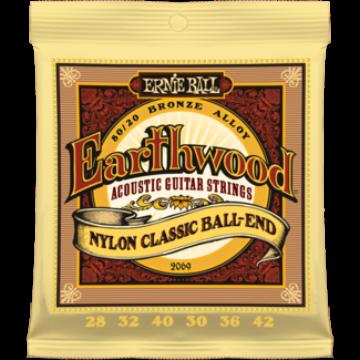Ernie Ball - Earthwood Folk Nylon Clear&Gold Ball End 28-42 Klasszikus Gitárhúr készlet