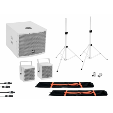 OMNITRONIC - Set MOLLY 2.1 Active System Sub + 2x Top + Accessories, white