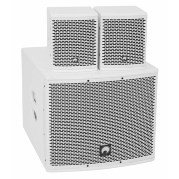 OMNITRONIC Set MOLLY-12A Subwoofer active + 2x MOLLY-6 Top 8 Ohm, white