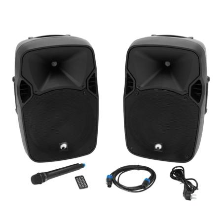 OMNITRONIC - XFM-212AP Aktiv-passzív hangfalpár,USB,Bluetooth, vezeték nélküli mikrofon