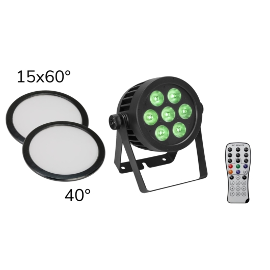 EUROLITE Set LED IP PAR 7x9W SCL Spot + 2x Diffuser cover (15x60° and 40°)