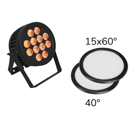 EUROLITE - Set LED IP PAR 12x9W SCL Spot + 2x Diffuser cover (15x60° and 40°)
