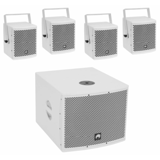 OMNITRONIC - Set MOLLY-12A Subwoofer active + 4x MOLLY-6 Top 8 Ohm, white