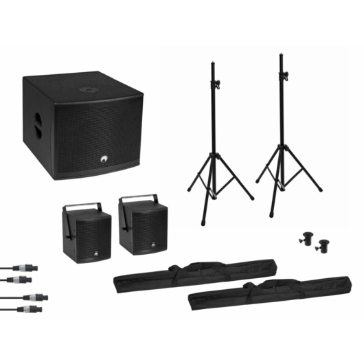 OMNITRONIC - Set MOLLY 2.1 Active System Sub + 2x Top + Accessories, black