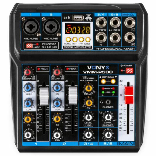 Vonyx - VMM-P500 4 Csatornás keverő bluetoothal
